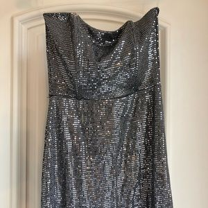 Full length cute silver sparkly strapless